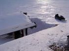 Alvorlig arktisk vinter og laftehytte ...