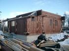 Montering av stavlaft hytte gavel