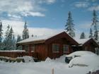 Se på fasade av Tors stavlaft hytte i vinter