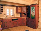 Beautifully designed kitchen of Bygdin laftehytte with painting