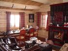 Torolmen laftehytte's living room with chimney