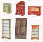 Diverse møbler designet for laftehytte eller stavlaft hytte