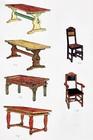 Bord og stoler designet for laftehytte eller stavlaft hytte