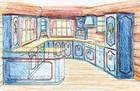 Design av kjøkken i laftehytte eller stavlaft hytte