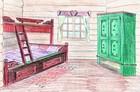 Design av soverommet i laftehytte eller stavlaft hytte