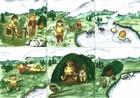Kunstverk egnet for bruk i interiør av personlig laftehytte eller stavlaft hytte (troll tema)