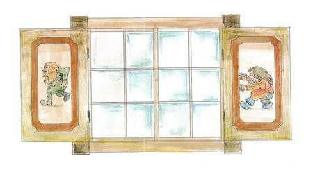Vindu kunstverk egnet for personlig laftehytte eller stavlaft hytte