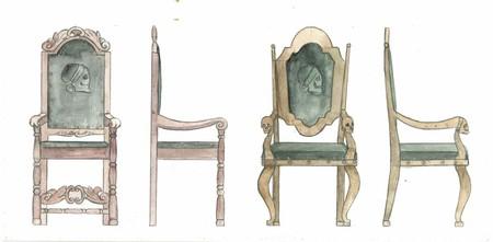 Design av spesielle stoler som skal brukes i laftehytte eller stavlaft hytte